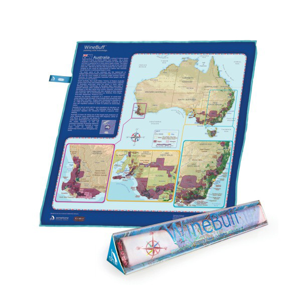 Australia Wine Region Map & Cleaning Towel Micro FIber Spot Free Glass